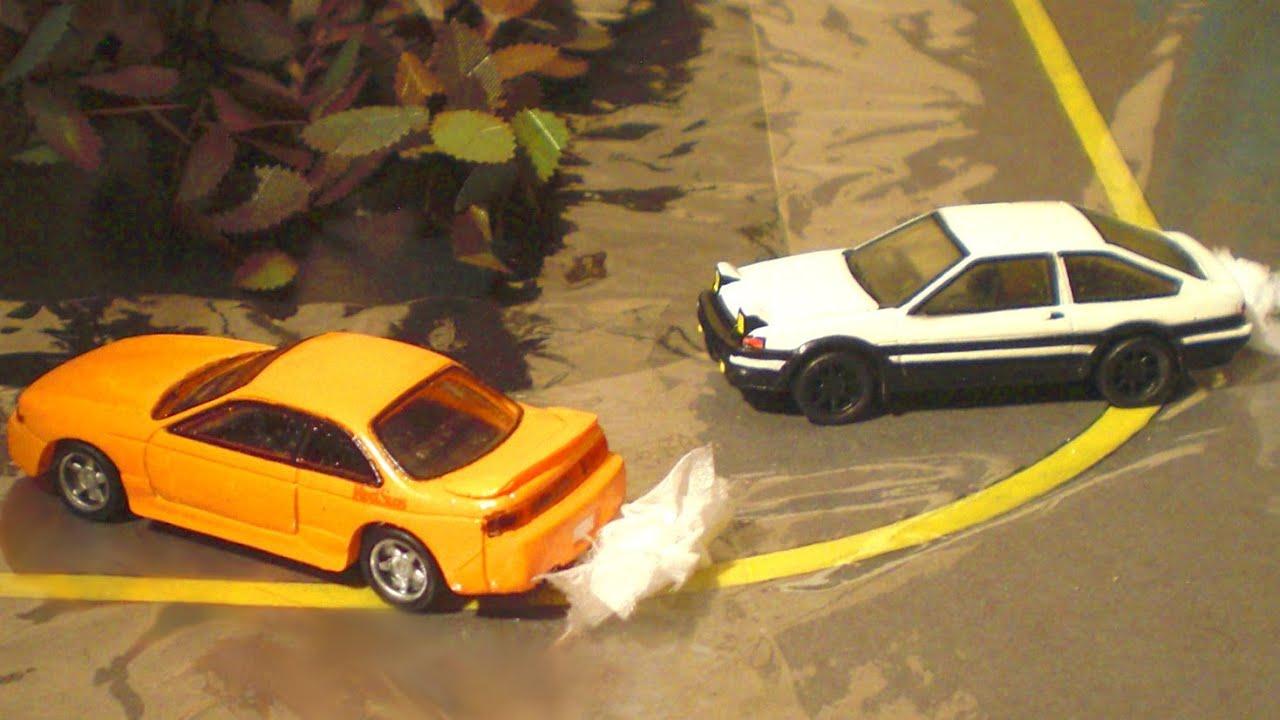 Initial D toy cars stop-motion 2 - Takumi vs Kenta, Kyoichi
