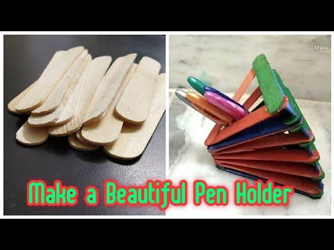 How  to Make a Pen Holder Use Icecriem Sticks | Easy DIY Pen Holder
