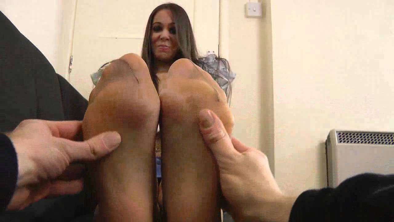 Pantyhose and stocking foot rub videos