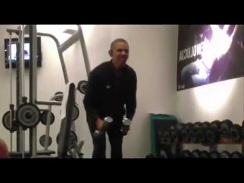 BBC News  Barack Obama works out in the gym