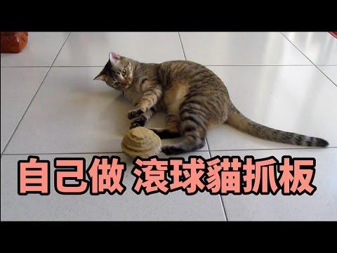 貓物DIY - 貓抓球 會滾的貓抓板 - YouTube
