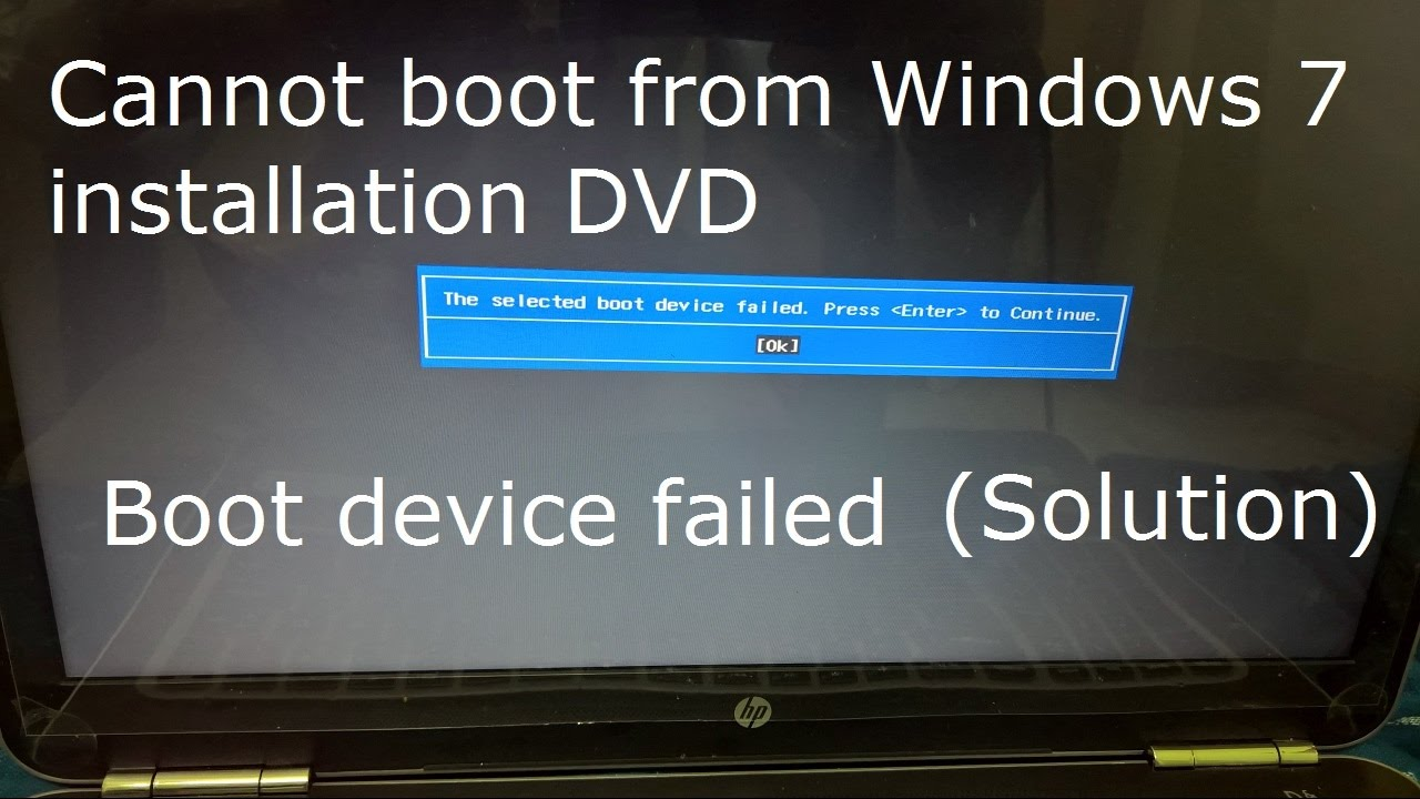 How To Fix The Selected Boot Device Failed Press Enter To Continue