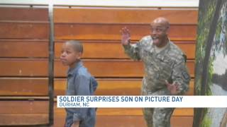 Military dad photobombs son during school picture day