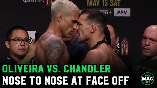 Michael Chandler and Charles Oliveira go nose to nose in UFC 262 Final Face Off