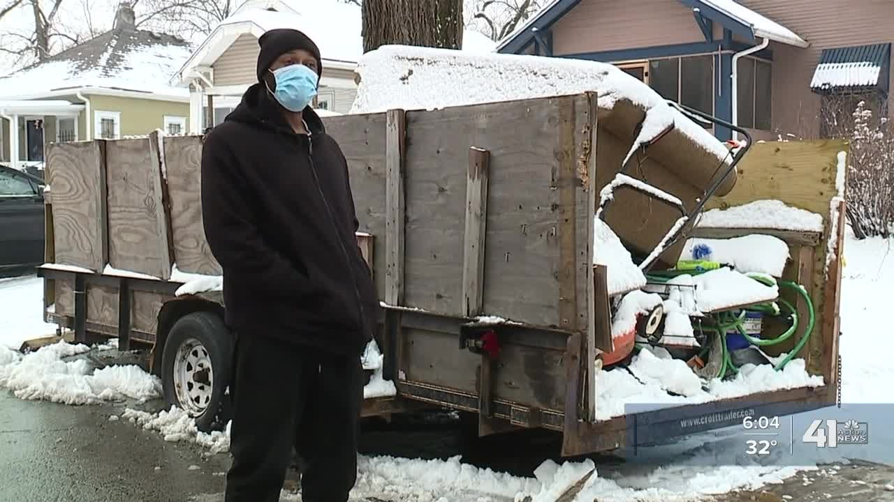 KC residents say snow plow driver damaged truck, trailer