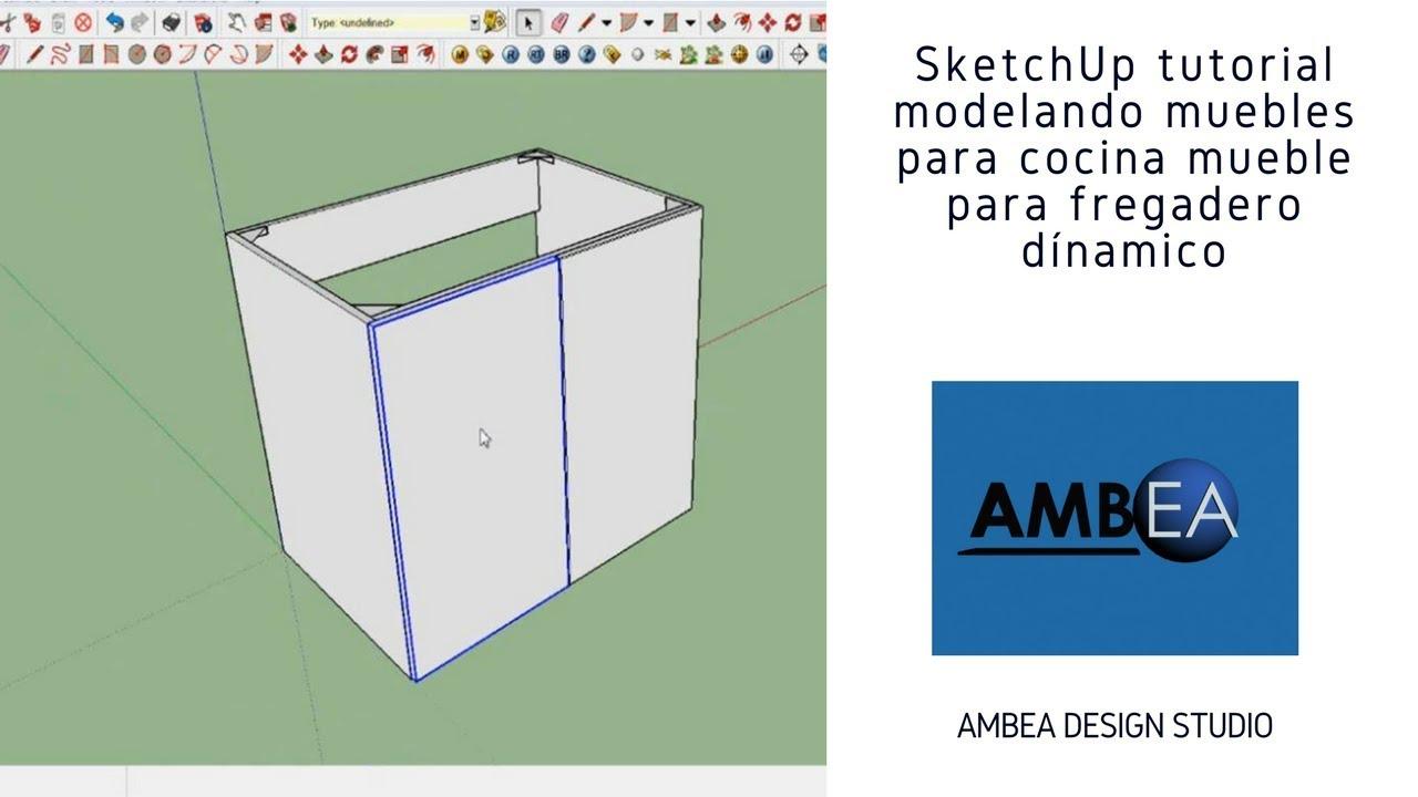 SketchUp Tutorial Modelando muebles para cocina a detalle Mueble para  fregadero, bloque dinámico