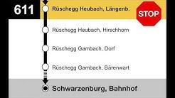 PostAuto Ansagen - 611 Riggisberg, Post – Schwarzenburg, Bahnhof