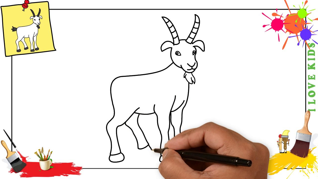 How to draw a goat 4 EASY step by step for kids, beginners, children
