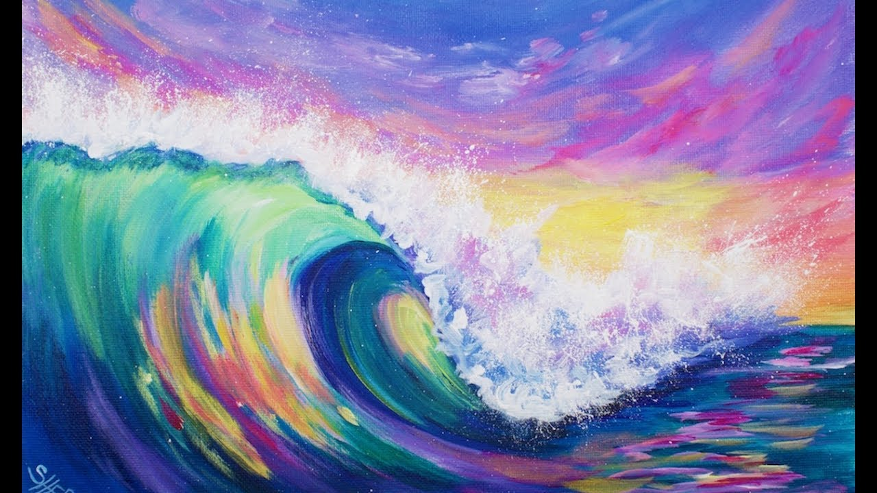 3 color challenge wave at sunset acrylic painting tutorial