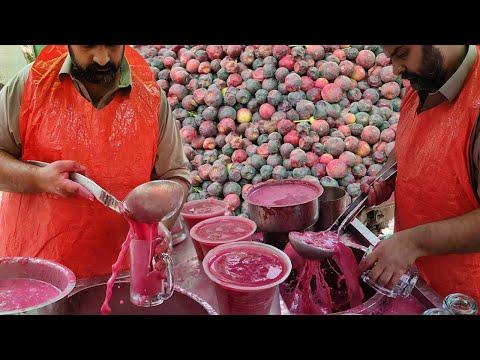 Roadside Summer Street Drink Falsa Juice   Energy Booster Phalsa Sharbat in Karachi Food Street