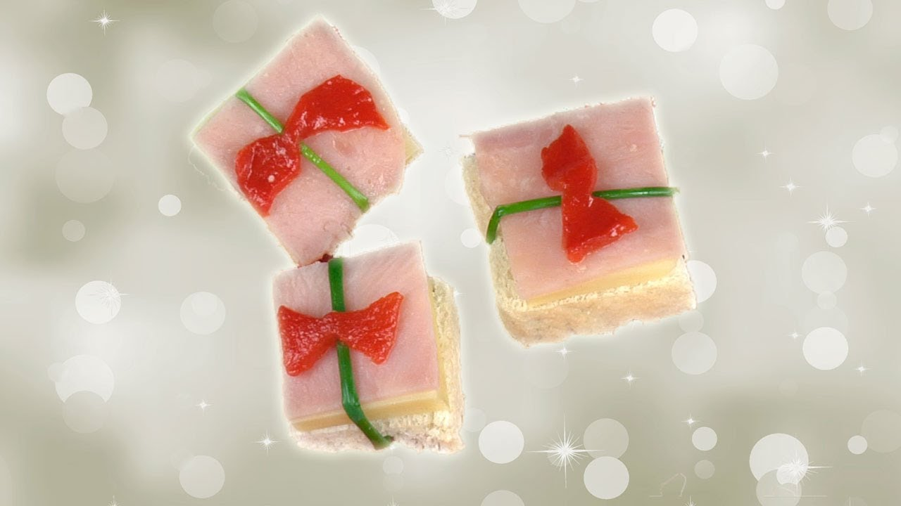 Canap s navide os regalo de jam n y queso youtube for Canape de jamon y queso
