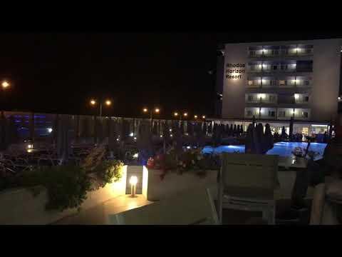Rhodes horizon resort night time view. Main pool area. 2018 Greece