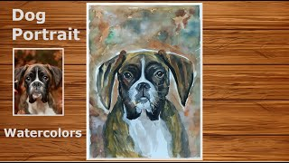Dog Portrait in Watercolors | Step by Step Portrait Drawing and Painting Lesson in Watercolors