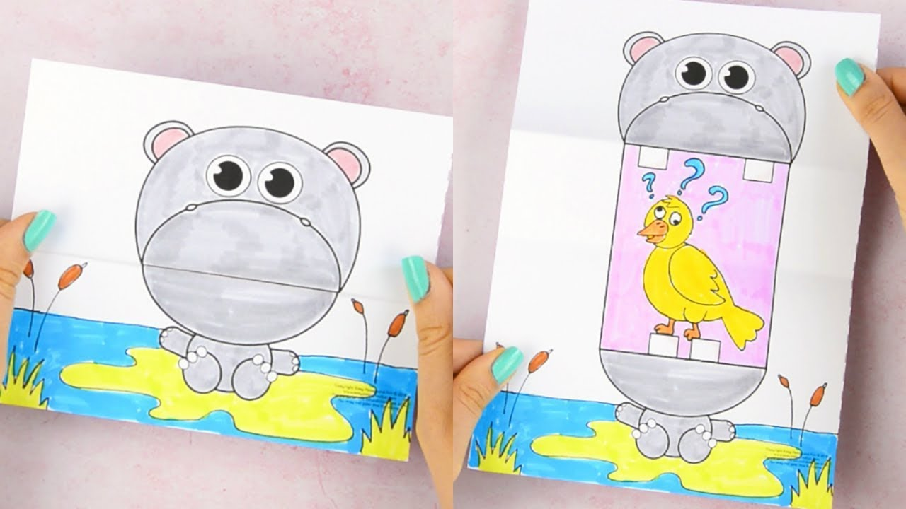 photograph regarding Printable Craft for Kids named Huge Mouth Hippo Printable Craft for Children