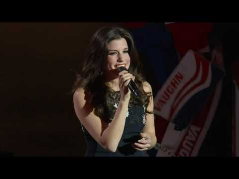 Brittany Kennell sings the national anthems at the Bell Center.