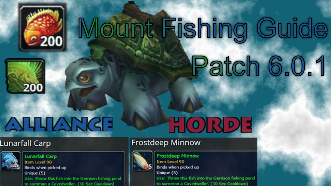 World Of Warcraft Fishing Guide For Cavedweller Turtle Mounts Patch 6 0 1