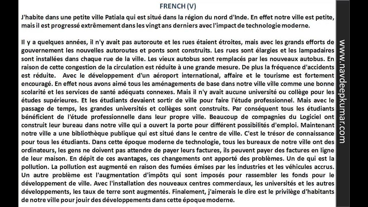 essays in french The following essays are from the fren1 january 2012 examination  teacher resource bank / a level french / exemplar material unit 1 writing / version 10.