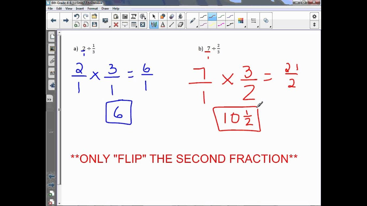 6th Grade 4-6: Divide Whole Numbers by Fractions - YouTube