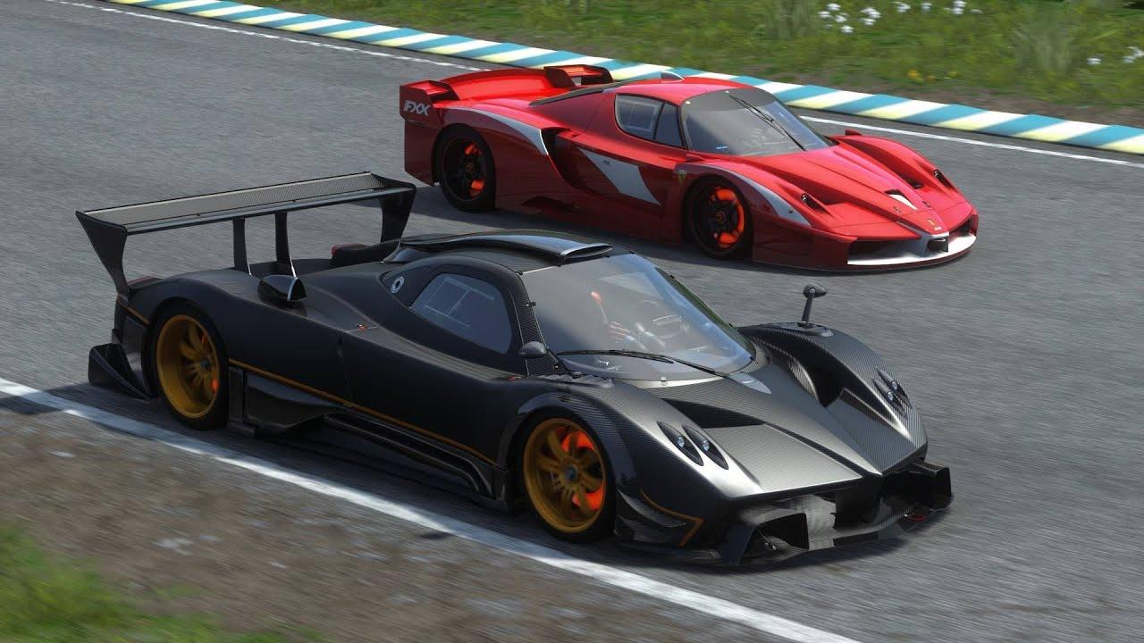 ... Ferrari FXX Evoluzione vs Pagani Zonda R Race Replay - YouTube