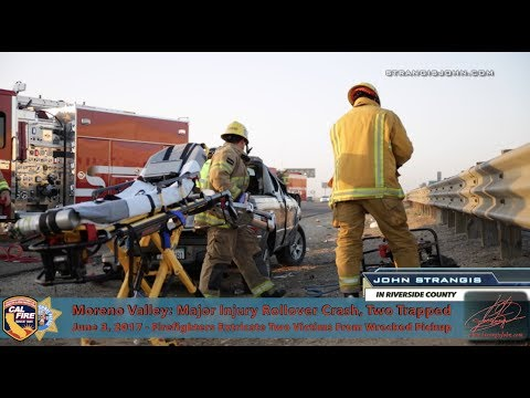 Moreno Valley:  Rollover Traffic Collision with Victims Trapped, Major Injuries
