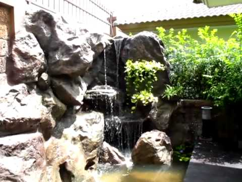 หินเทียมและน้ำตกเทียมจัดแต่งสวน