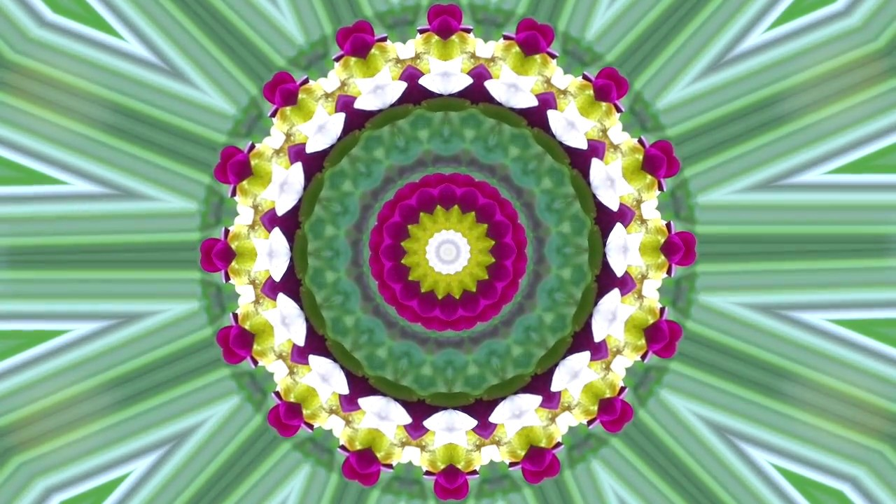 Flower kaleidoscope with Guitar music 15 MINUTES!!