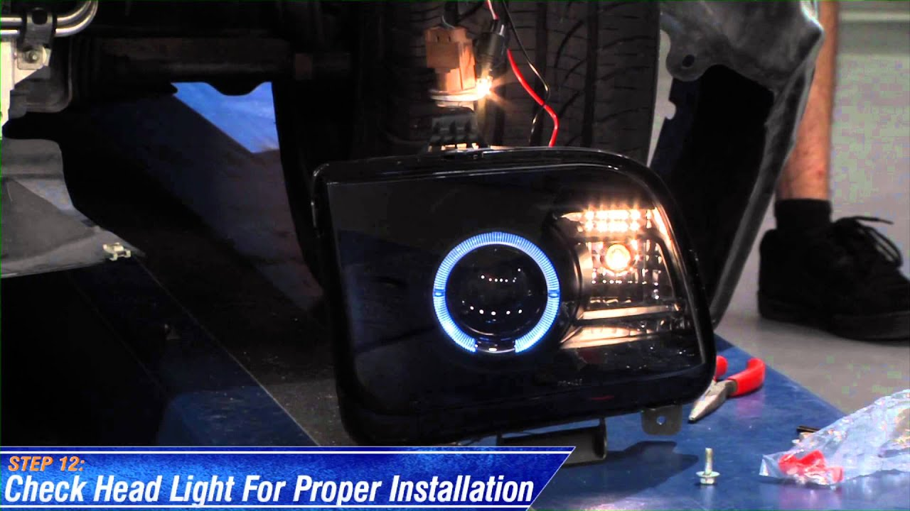 Mustang raxiom smoked projector headlights ccfl halo 05 09 gt v6 install youtube