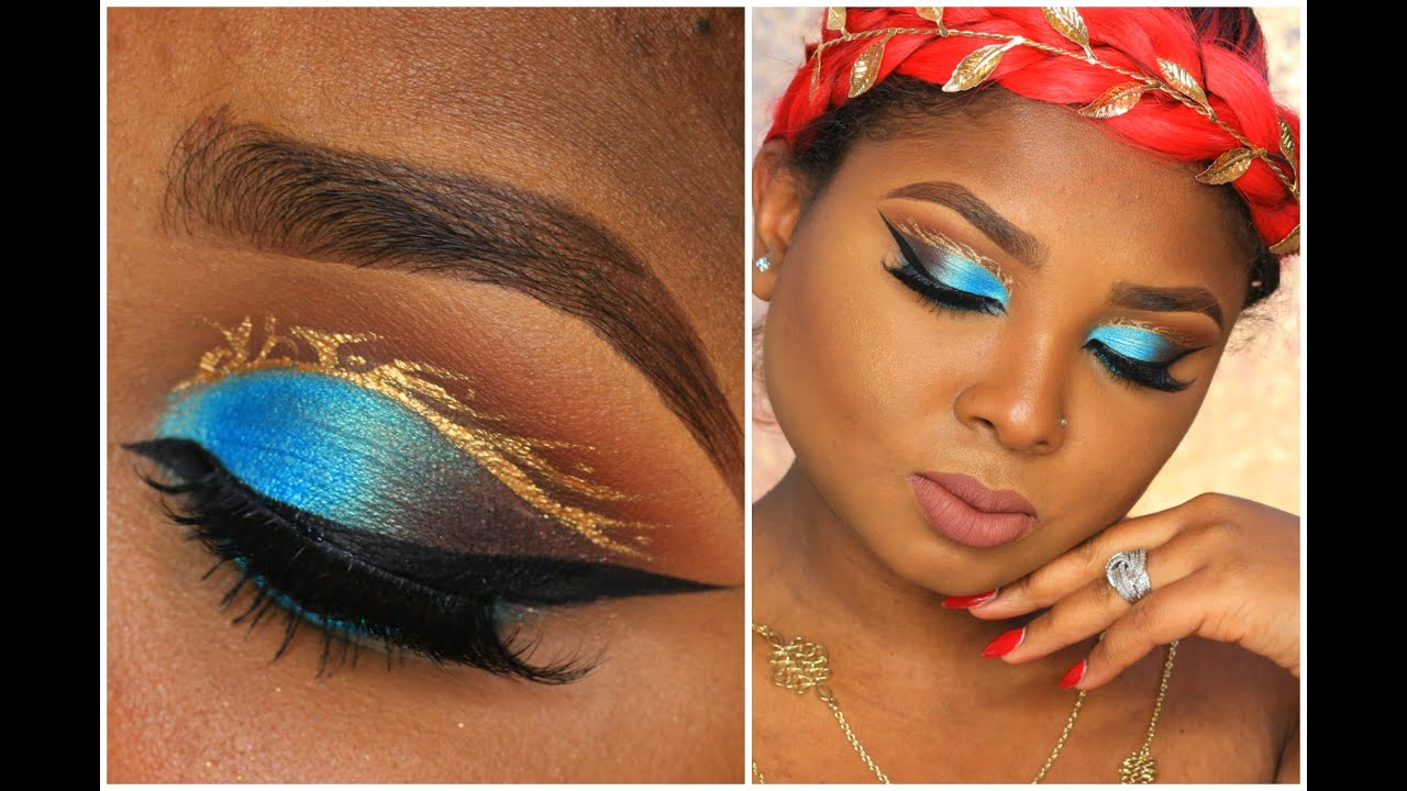 cut crease teal and a pop of gold make up tutorial