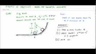Example Particle Kinetics with normal and tangential coordinates (part 1/2) - Engineering Dynamics