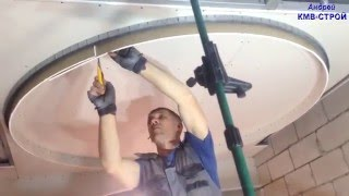 монтаж многоуровневых потолков из гипсокартона часть - 4 монтаж потолка (Версаль) .(в этом видео я показываю как смонтировать потолок в 3 уровня с нишей под занавесь из гипсокартона., 2015-12-16T05:17:30.000Z)