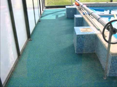 Rubber anti slip safety flooring for swimming pools youtube for Swimming pool floor
