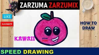🍎🍎SPEED DRAWING HOW TO DRAW KAWAII APPLE STEP BY STEP 🍎🍎