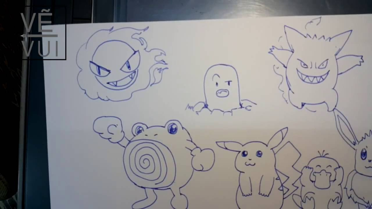 How to draw pokemon doodle with fountain pen – Vẽ doodle pokemon với bút mực