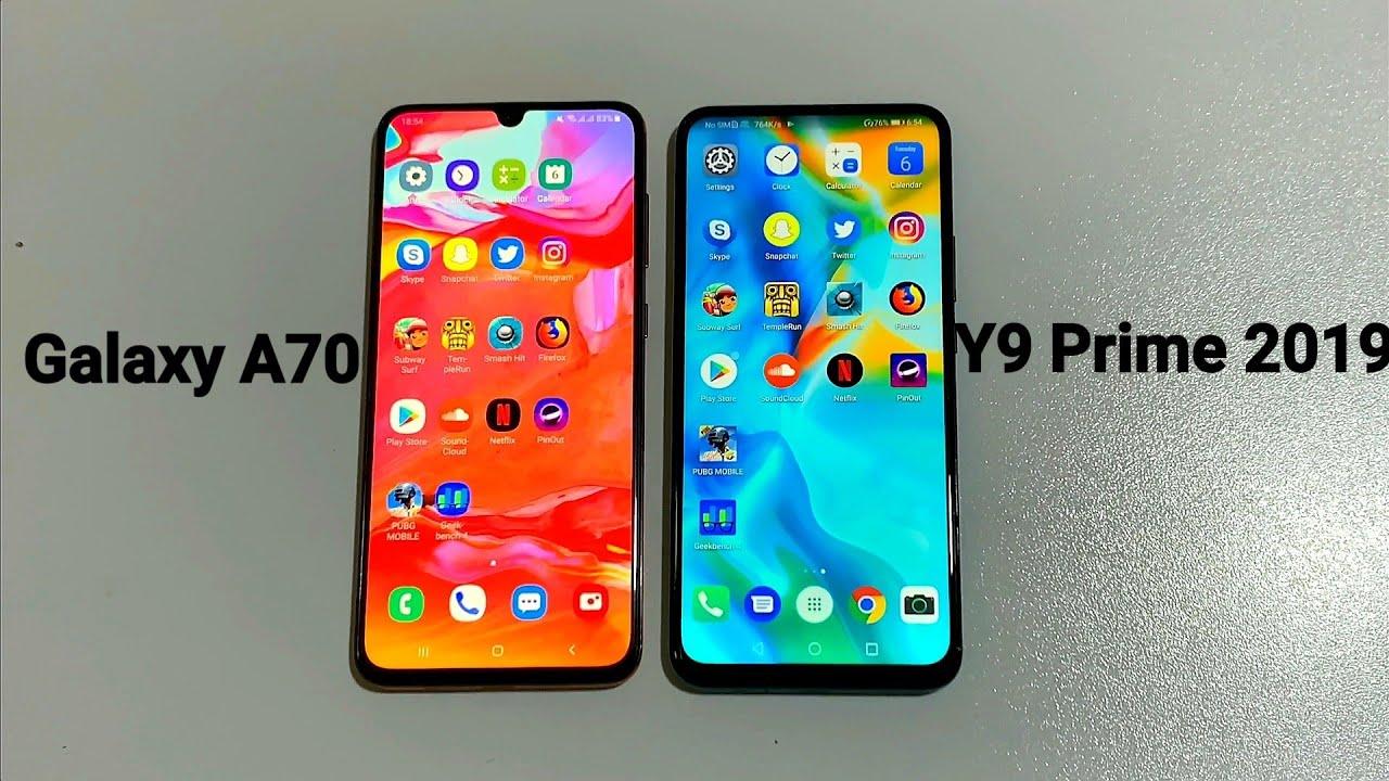 Samsung Galaxy A70 vs Huawei Y9 Prime 2019 - Speed Test!! (4K)