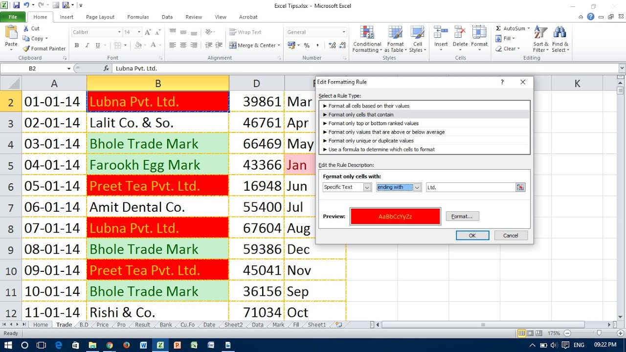 Highlight Text Values With Conditional Formatting