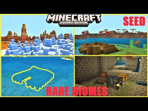Minecraft PE - SHIPWRECK IN MUSHROOM BIOME, MESA & ICE SPIKES, VILLAGES & MORE !   MCPE 1.12 SEED
