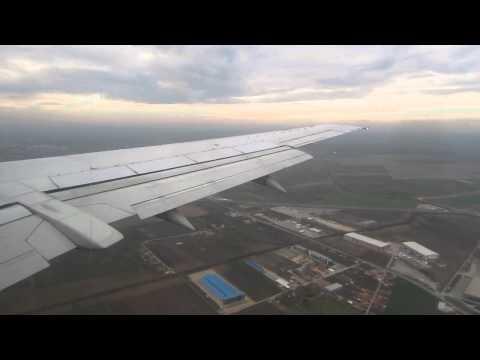Air Serbia B737-300 Landing at Belgrade, Serbia - Window View