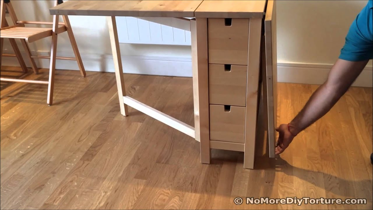 Folding table ikea norden dining table youtube for Table pliante ikea