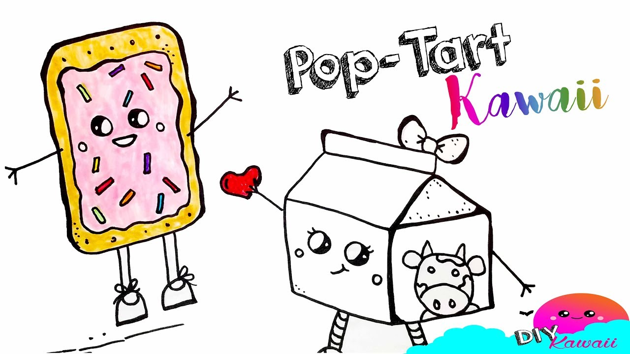 how to draw and color pop tart and milk learn colors