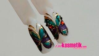 Бабочка со стразами. Дизайн гель-лаками