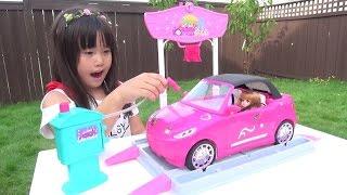 バービーの洗車ができるおもちゃで遊びました♫お絵かき、シール張りを楽...