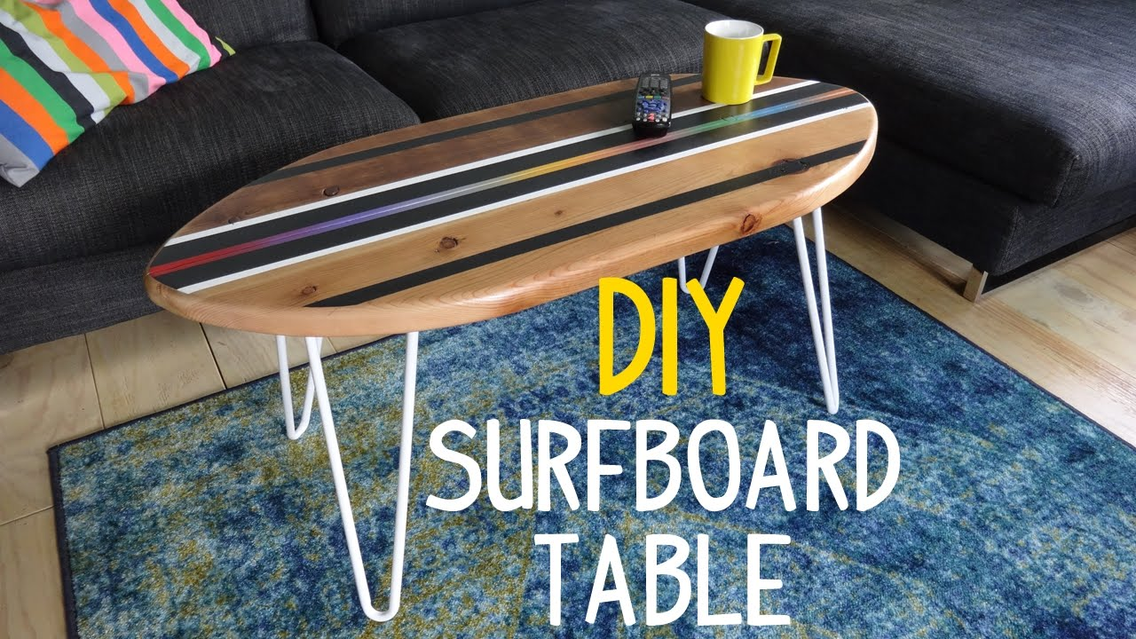 Super Simple Surfboard Table Build  YouTube