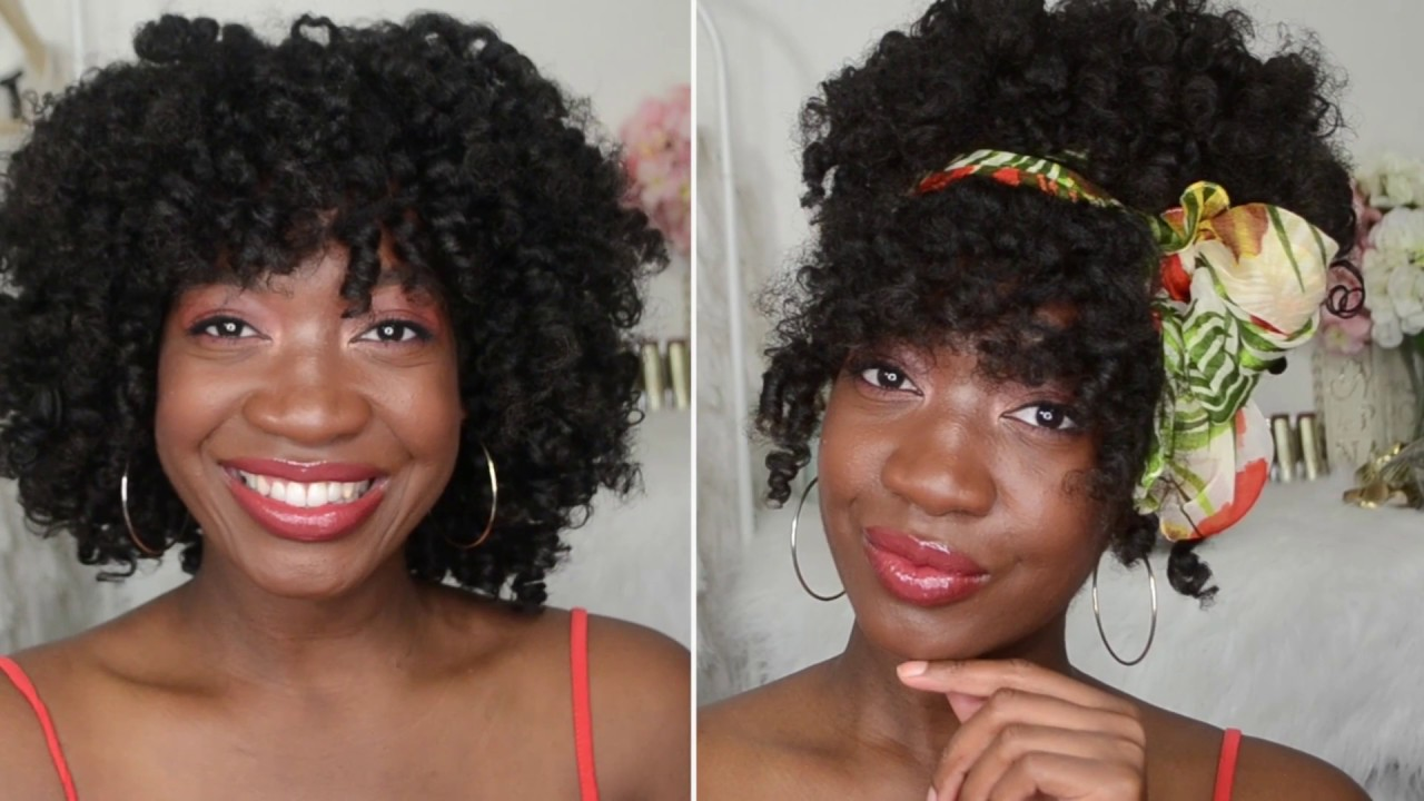 2 Easy Natural Hairstyles In 1 Curly Updo W A Scarf Twistout