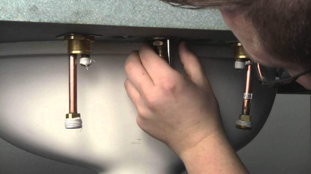 How to install a Widespread Bathroom Faucet - YouTube