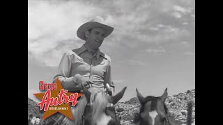 """Singing cowboy gene autry performs """"sing me a song of the saddle"""" from his television series show, season 1, episode 1 """"head for texas.""""here i..."""