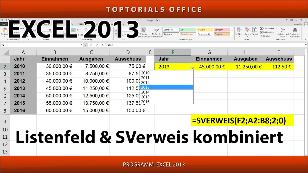 Listenfeld / Dropdownliste und SVerweis kombiniert (Excel) - YouTube
