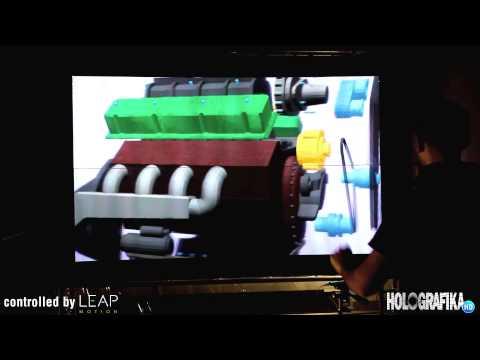 LEAP Motion demonstration on HoloVizio C80 Glasses-free 3D cinema system