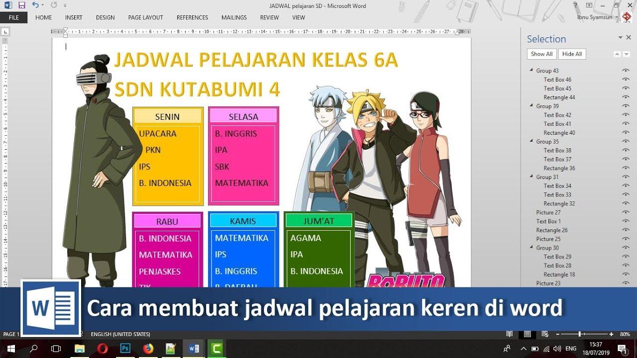 Membuat Jadwal Pelajaran Keren Di Microsoft Word Tutorial89 Youtube