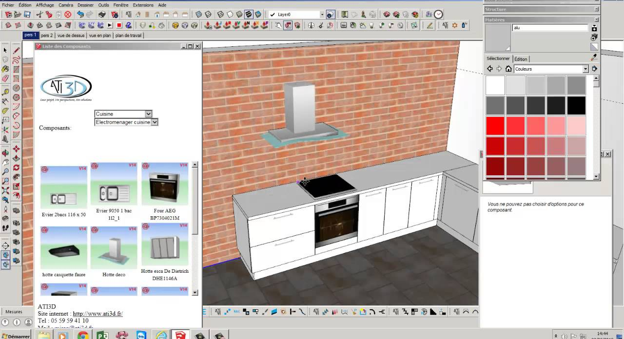 sketchup pro r alisation rapide d 39 une cuisine youtube. Black Bedroom Furniture Sets. Home Design Ideas
