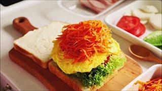 SUB)부드럽고 고소한 달걀 샌드위치와 아삭아삭 신선한…